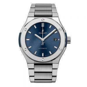 Hublot Classic Fusion Blue Titanium Bracelet Watch