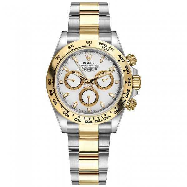 Rolex Cosmograph Daytona Yellow Gold Steel White Dial Watch