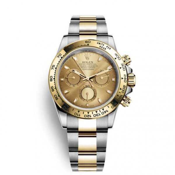 Rolex Cosmograph Daytona Yellow Gold Steel Champagne Dial Watch