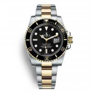 Rolex Oyster Perpetual Submariner Date Yellow Gold Steel Black Dial Watch