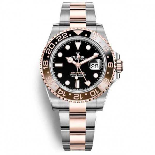 Rolex GMT Master II Rose Gold Steel Black Dial Watch
