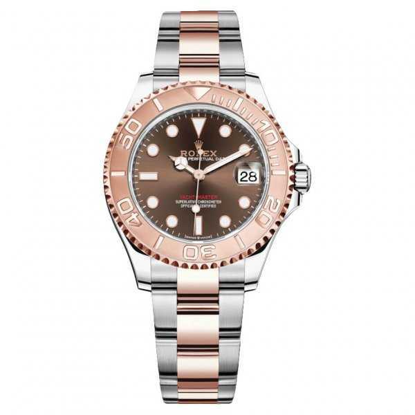 Rolex Yacht-Master 37mm Rose Gold Steel Chocolate Dial Ladies Watch