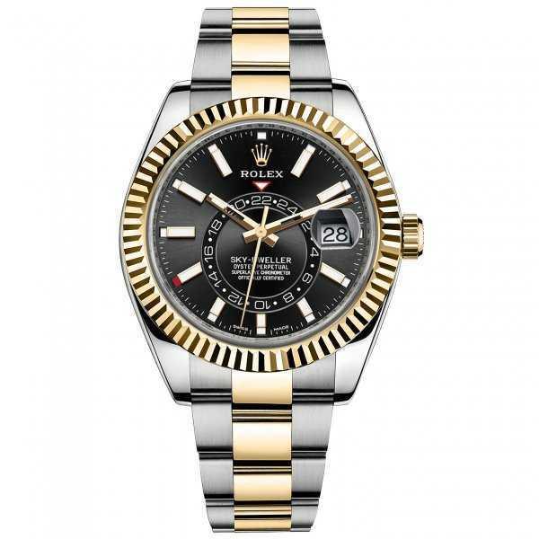 Rolex Sky-Dweller 42mm Yellow Gold Steel Black Dial Watch