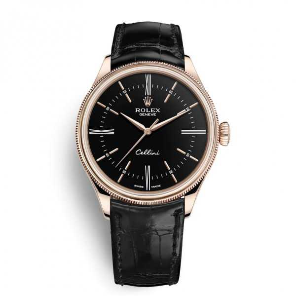 Rolex Cellini Time 39mm Rose Gold Black Dial Watch