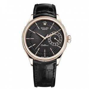 Rolex Cellini Date 39mm Rose Gold Black Dial Watch