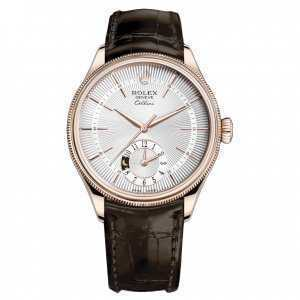 Rolex Cellini Dual Time 39mm Rose Gold Silver Dial Watch