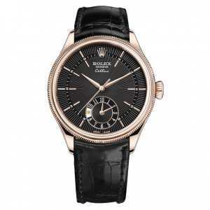 Rolex Cellini Dual Time 39mm Rose Gold Black Dial Watch
