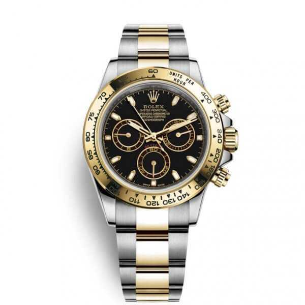Rolex Cosmograph Daytona Yellow Gold Steel Black Dial Watch