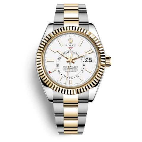 Rolex Sky-Dweller 42mm Yellow Gold Steel White Dial Watch