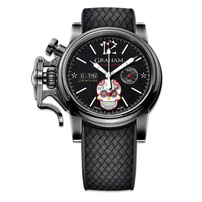 Graham Chronofighter Vintage Ltd Calavera Skull Limited Edition Watch