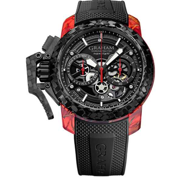 Graham Chronofighter Superlight Carbon Skeleton Red Watch
